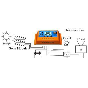 30A Güneþ Þarj Kontrolörleri Güneþ Paneli Akü Regülatörü LCD Ekran 12-24V