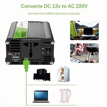 Araç Ýnvertör DC 12V dan AC 220V?a 2000W Gerilim Dönüþtürücü Çift USB Çýkýþ