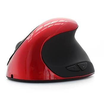 Optik Dikey Þarjlý Pilsiz Mouse 2.4GHz Ergonomik Kablosuz Kýrmýzý 5 Buton