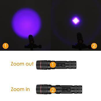 UV 395nm 5W Fener 3 Modlu Zoom Ayarlý AA/14500 Pil ile Çalýþýr