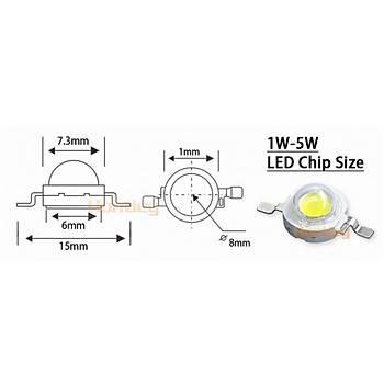 UV Mor LED 3W High Power Chip 400-405nm Iþýk