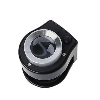 30X Lüp Kumaþ Katlanýr Metal Ölçekli Büyüteç Optik Cam Lens 6 Led UV/Beyaz