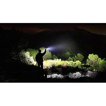 Fener Kýrmýzý Ýþaretcili XML-T6 500LM 18650 Zoomlu EDC LED Flashlight