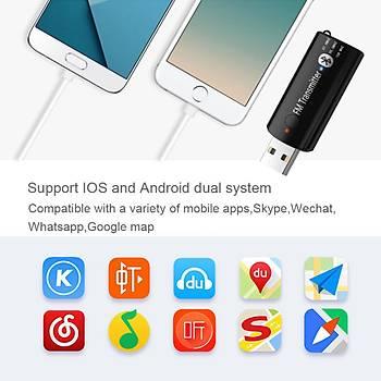 Bluetooth 5.0 FM Hifi Ses Müzik Verici USB Adaptörü 3.5mm Aux Araç Ev Tv