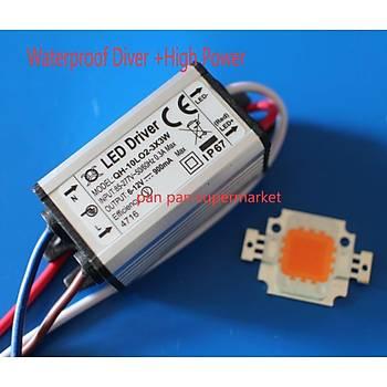 10 W Tam Spektrum 400-840nm + LED Waterpoof Sürücü Güç Kaynaðý