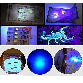 UV Led 365nm Mini Paslanmaz Çelik El Feneri Taþýnabilir AAA Pil ile Çalýþýr 3W