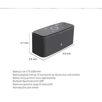 DOSS Stereo SoundBox Dokunmatik TF Kart Bluetooth EDR Hoparlör 2x6W Mikrofon