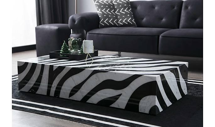 Zebra Mermer Orta Sehpa