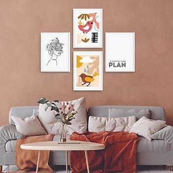 Ev Dekorasyonu Çerçeveli Poster Tablo Seti