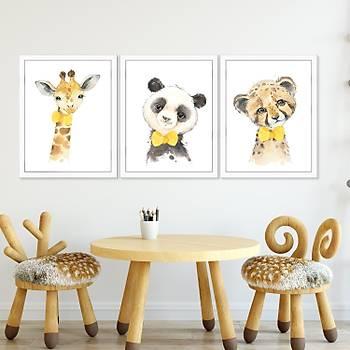 Sevimli Hayvanlar Çocuk Odasý Çerçeveli Tablo
