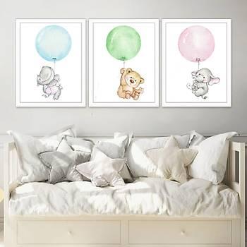 Balona Tutunan Sevimli Hayvanlar Seti Çerçeveli 3 Adet