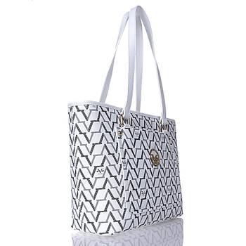 Versace 19v69 İtalia Bayan Çantası Monogram Baskılı Beyaz 3611