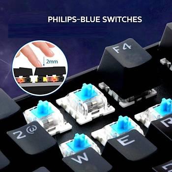 Philips SPK8404P Usb Blue Switch Mekanik Oyuncu Q Klavye Pad Hediyeli