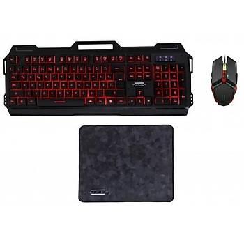 Hiper Kratos V20 Gaming Oyun Klavye Mouse pad Set Mekanik Hisli