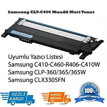 Samsung CLT-C406 Muadil Mavi Toner Clp-365, Clx3305FN, C410