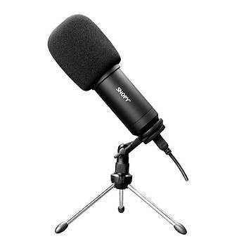 Snopy SN-04P Çok Amaçlý Masaüstü Profesyonel USB Yayýn Mikrofonu Siyah