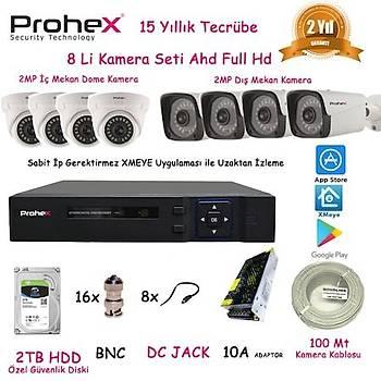 Prohex Güvenlik Kamerasý Seti 2Mp 1080P 8Li Sistem