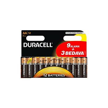 Duracell Alkalin AA Kalem Pil (9+3) 12'li Paket Pil