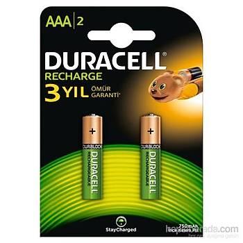 Duracell AAA 750Mah 1.2 Þarj Edilebilir Ýnce Kalem Pil 2 li