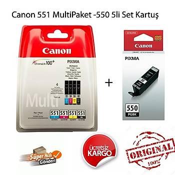 Canon Pgý-550PGBK/CLI-551Bk/551C/551M/551Y 5Li Kartuþ Seti