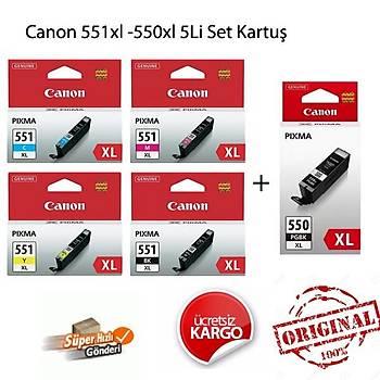 Canon CLI-551XL Bk-C-M-Y 550XL 5li Kartuþ Seti