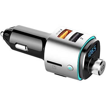 S-link SL-BT225 Bluetooth V5 2xUSB QC3.-03.6V-12V/3A Fm Transmitter Rainbow Led