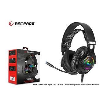 Snopy Rampage RM-K18 7.1 Siyah USB RGB Gaming Mikrofonlu Kulaklýk