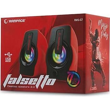 Rampage RMS-G7 Falsetto Multimedia 5V USB Gaming Hoparlör Kýrmýzý