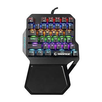 Rampage KB-R77 Rainbow Backlight Red Switch Mekanik Usb 36 Tuþlu Mini Gaming Oyuncu Klavyesi