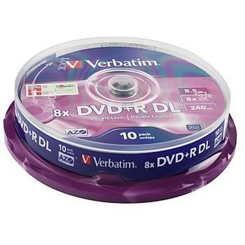 Verbatim 43666 DVD+R 10 Spindle Double Layer Matt Silver 8x 8,5GB