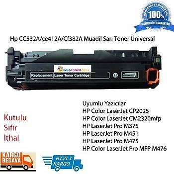 HP CC532A/ce412A/Cf382A Muadil Sarý Toner Üniversal