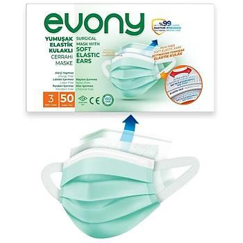 Evony Yumuþak Elastik Kulaklý Maske 100 Adet 00953