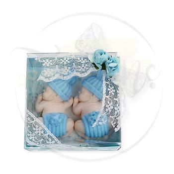 Ýkiz Erkek Bebekler Ýçin Hediyelik - Uyuyan Ponponlu Ýkiz Bebekler Kokulu Sabun Bebek Þekeri