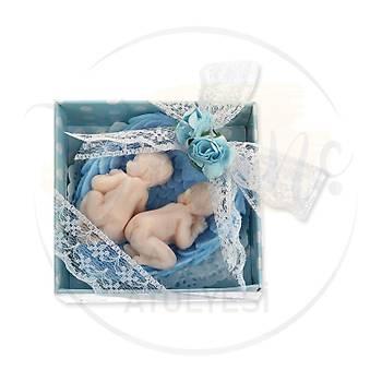 Ýkiz Erkek Bebek Ýçin Hediyelik - Melek Kanadýnda Uyuyan Bebek Kokulu Sabun