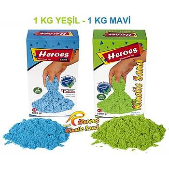 Heroes, Kinetik Kum, 2 Renk 2 Kg, Mavi ve Yeþil, 6 Adet Kalýp, Oyun Kumu