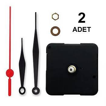 2 Adet, Duvar Saat Mekanizmasý, Sessiz, 10 mm Þaft, Saat Motoru, Metal Akrep, Yelkovan, Saniye