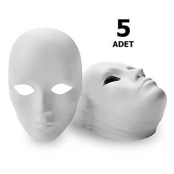 5 Adet, Karton Maske, Boyanabilir, Eðitici Maske Boyama, Etkinlik ve Hobi Maskesi