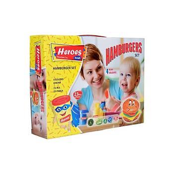 Heroes, Oyun Hamuru, Hamburger Seti, 23 Parça, 4 Renk Hamur