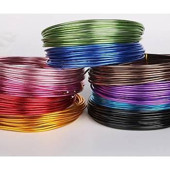 10 Adet, Alüminyum Tel, 1 Mm Kalýnlýk, 10 Farklý Renk, Metal Tel