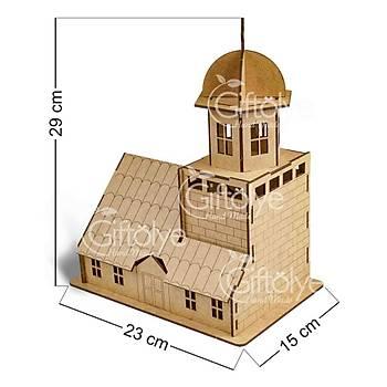 Ahþap Kýz Kulesi Maketi, Boyanabilir Ahþap Maket,3D Maket, Puzzle
