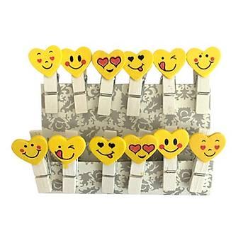 10 Adet, Mini Mandal, Emoji Desenli, Kalp Þekilli, Ahþap Mandal, Dekoratif Fotoðraf Mandalý