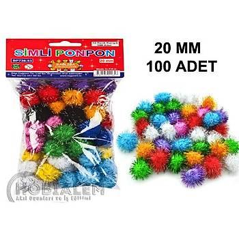 100 Adet, Simli Ponpon, 20 mm, Renkli Peluþ Ponpon, Minik Ponpon, Süsleme ve Etkinlik Malzemesi