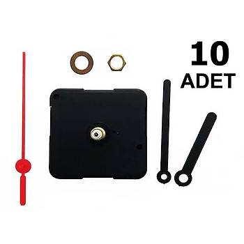 10 Adet, Duvar Saat Mekanizmasý, 10 mm Þaft, Tik Tak, Saat Motoru, Akrep, Yelkovan