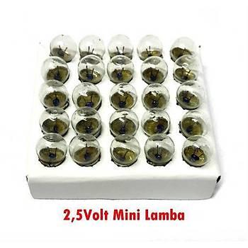 50 Adet, Mini Ampül, Deney Setleri Ýçin, 2,5 V, Sarý Ampul, Lamba, Elektrik Devresi