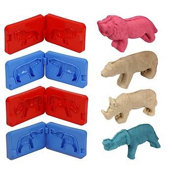 Kinetik Kum, 3D Orman Hayvanlarý, Büyük Oyun Havuzu, 4 Renk Kum