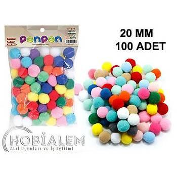 100 Adet, Ponpon, 20 mm Renkli Ponpon, Peluþ Ponpon, Minik Ponpon, Süsleme, ve Etkinlik Malzemesi