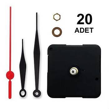 20 Adet, Duvar Saat Mekanizmasý, Sessiz, 10 mm Þaft, Saat Motoru, Metal Akrep, Yelkovan, Saniye