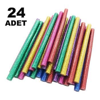 24 Adet, Simli Silikon, Sýcak Mum Silikon, 7 mm x 18 cm, Ýnce Tip, Renkli Silikon