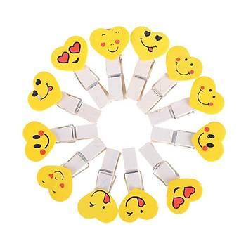 10 Adet, Mini Mandal, Emoji Desenli, Kalp Þekilli, Ahþap Mandal