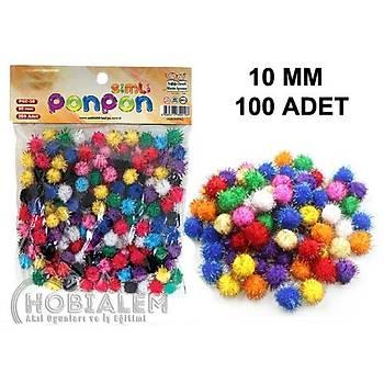 100 Adet, Simli Ponpon, 10 mm, Renkli Peluþ Ponpon, Minik Ponpon, Süsleme ve Etkinlik Malzemesi